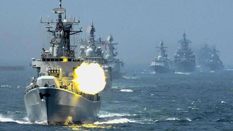 中俄海上联合-2014军事演习参演舰艇陆续返